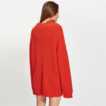 Suéter maxi casual largo tejido 1