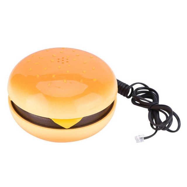WX 3019 mini telephone Novelty Emulational Hamburger Telephone with Flash Re dial Wire Landline Phone Home Decoration