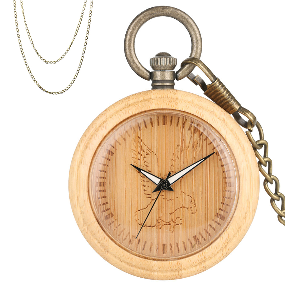 Carving Bamboo Wood Eagle Display Round Quartz Pocket Watch Luxury Wooden Case Pendant Pocket Hanging Clock Bronze Necklace