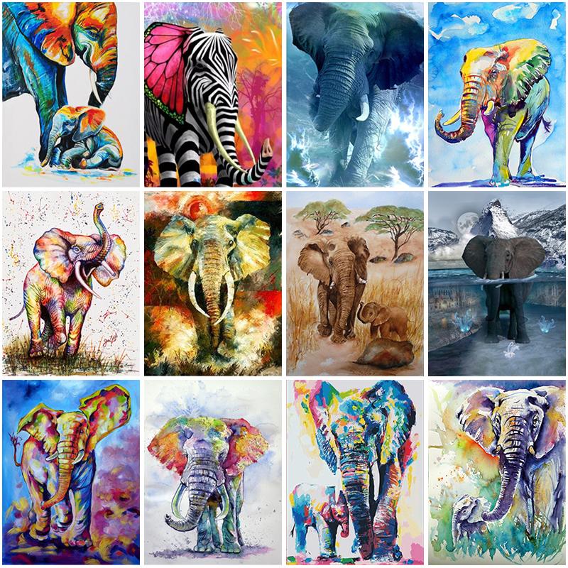 Diy 5d diamond painting color elephant embroidery animal cross