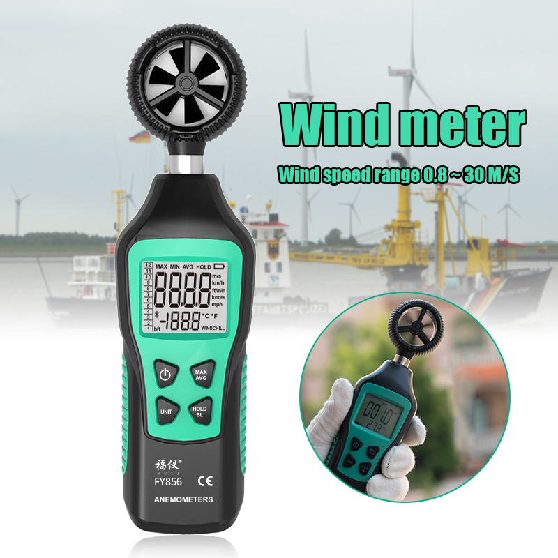 FY856 Handheld Wind Speed Meter Digital Anemometer Air Velocity Temperature Testers With Thermometer  PUO88