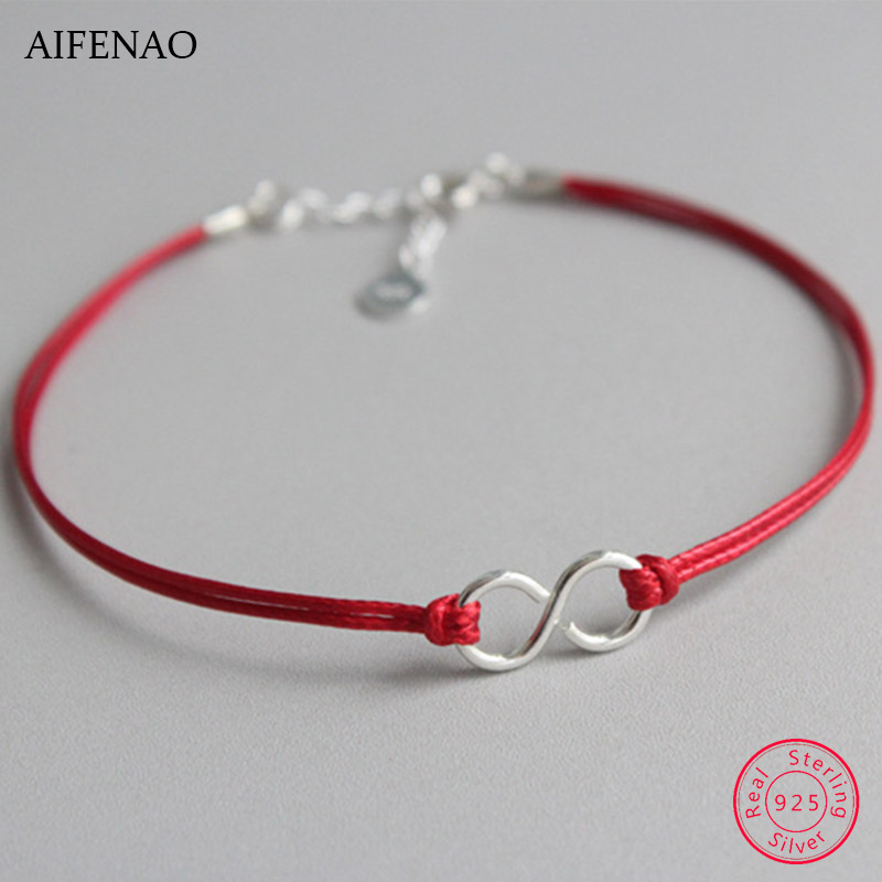 925 Sterling Silver Anklets for Women Red Thread Rope Anklet Bracelet Chain Foot Jewelry