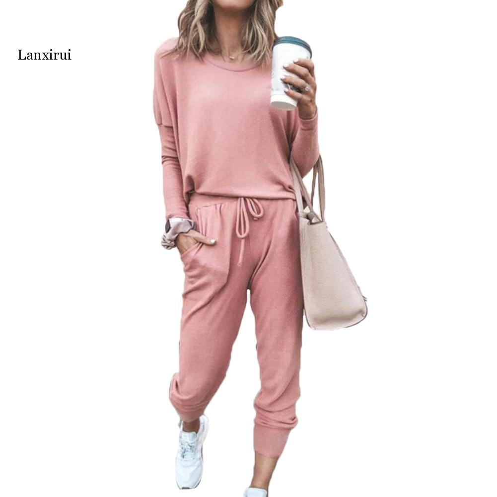 Women Solid Color Long Sleeve O Neck Blouse Top Drawstring Pants Sport Tracksuit