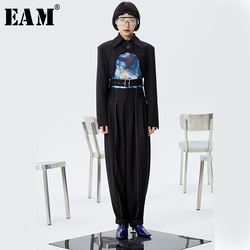 [EAM] High Waist Black Pleated Split Joint Long Wide Leg Trousers New Loose Fit Pants Women Fashion Spring Autumn 2020 1S982