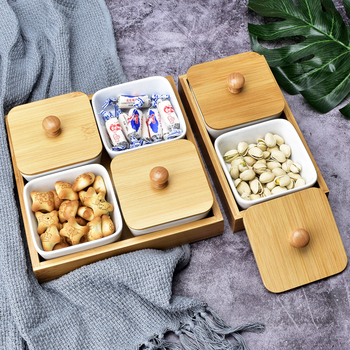 Многофункциональная керамическая коробка бамбуковые поддоны для хранения домашней кухни еда десерт чайная тарелка гайка закуска Конфета Органайзер украшение поднос для сервировки