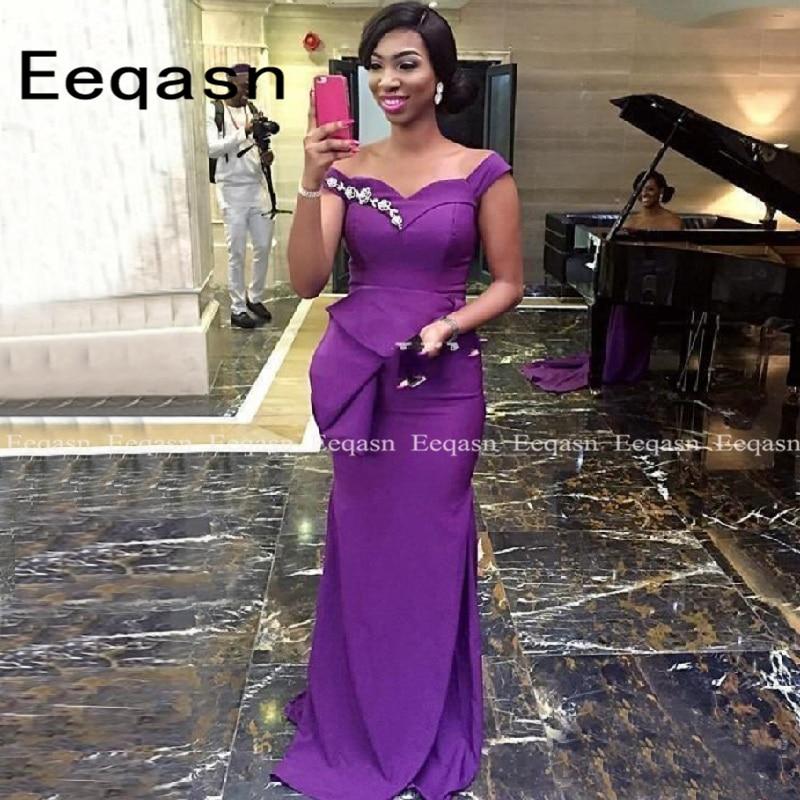 2020 Off The Shoulder Purple Bridesmaid Dresses Long Mermaid Wedding Guest Formal Party Dress Plus Size 2020