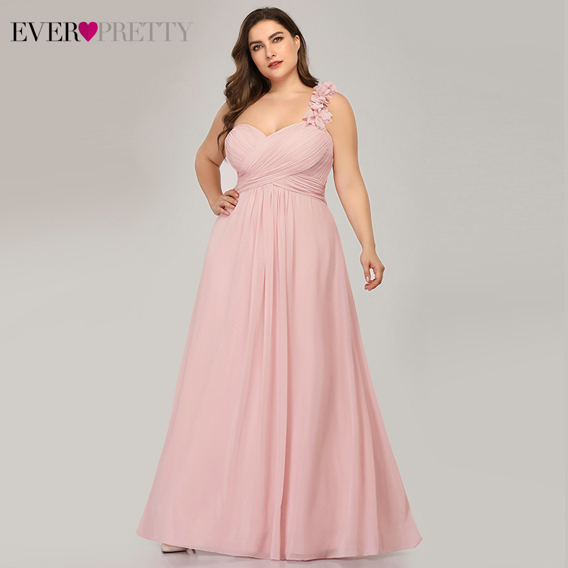 Plus Size Bridesmaid Dresses Ever Pretty EP09768 Floral One Shoulder Sweetheart A-Line Ruffles Chiffon Wedding Party Gowns 2020