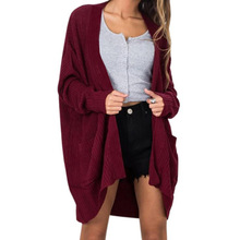 Casual Solid Long Knitted Cardigan Women Pocket Sleeve Loose Opened Sweater Female Thick Knitting Outwear