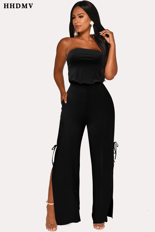 HHDMV FM1082 fashion bohemia high street style jumpsuits sleeveless strapless dew back lace-up pockets jumpsuits short pants