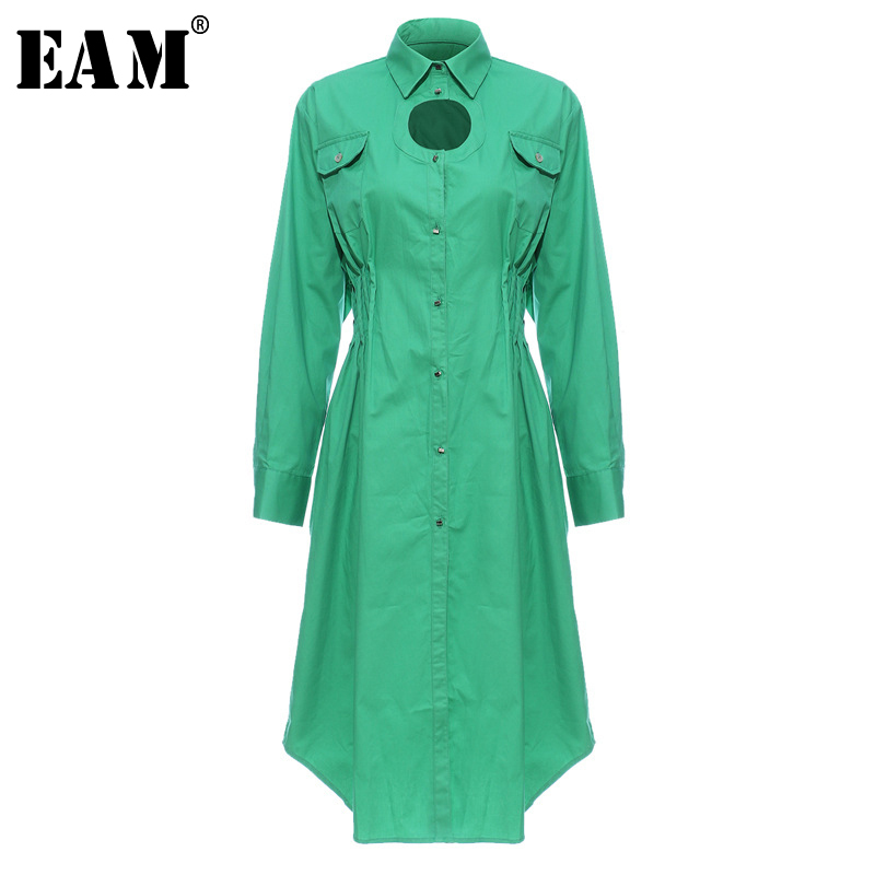 [EAM] Women Green Pleated Hollow Out Big Size Shirt Dress New Lapel Long Sleeve Loose Fit Fashion Tide Spring Autumn 2020 1N238