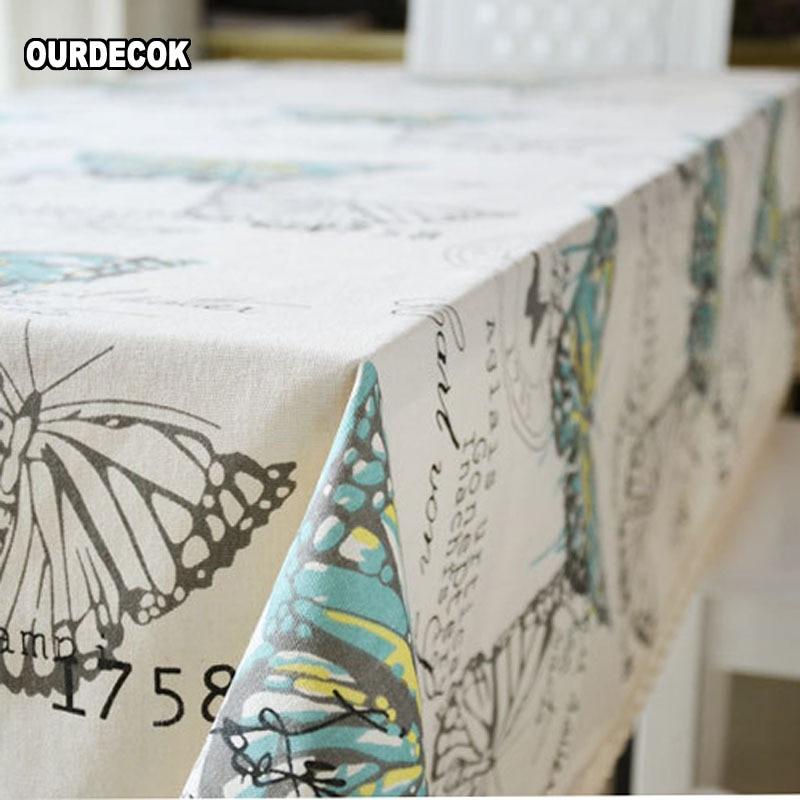 Тканина для білизни з метеликами з мереживним краєм Принт прямокутник Кухонний журнальний столик Обкладинка для домашнього скатертини toalha De Mesa Chemin
