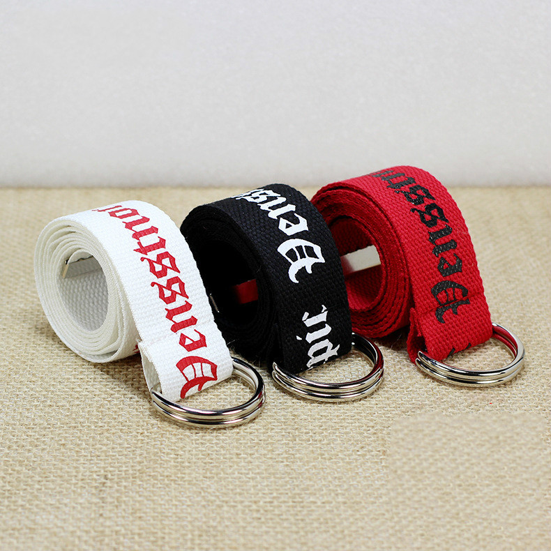 130cm Fashion Neutral Nylon Canvas Belt Printing D Ring Double Buckle Student Belt Canvas Waistband Belt With Double Buckle