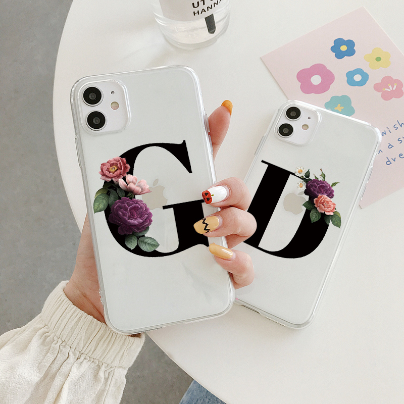 Alphabet Letter Flower Silicone Case For Xiaomi Redmi Note 9 6 7 8 Pro Max 9S Transparent TPU For Xiomi Redmi Note 9S Back Cover(China)