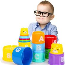 8 PCS Educational Baby Toys 6 Month Figures Letters Foldind Stack Cup Tower Children Early Intelligence Alphabet Toys For Childr цена