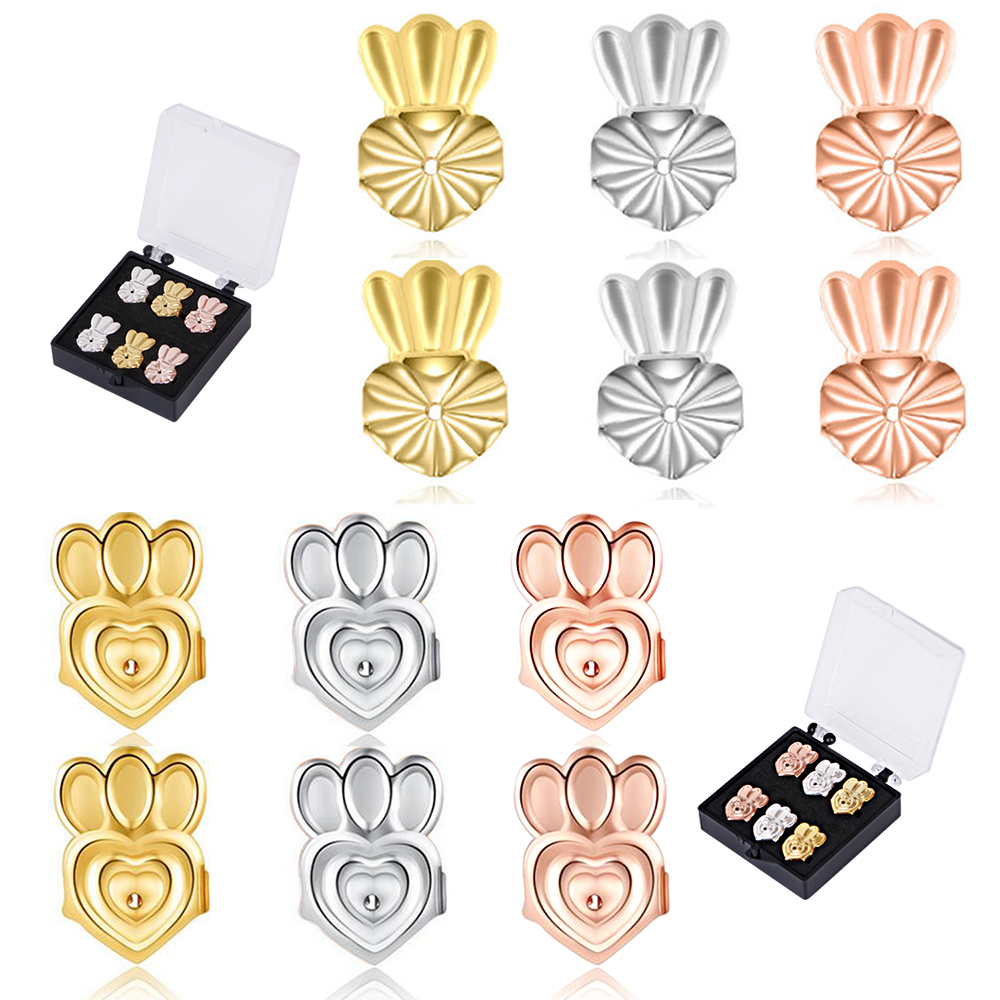Explosion Earrings 6 Pairs Of Adjustable Hypoallergenic Earring Backs Lifters,Easy To Use Back Earrings For Women, With 3 Colors