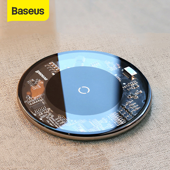 Baseus Qi Wireless Charger For iPhone 12 11 Pro 10W Qi Wireless Fast Charger Visible Charger Pad Pho