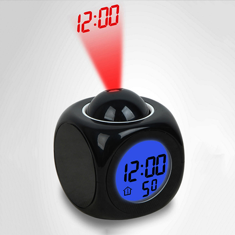Alarm Clock Night Light With Projector Lamp Voice Temperature Digital Time Projection On Wall Ceiling For Home Table Decoration