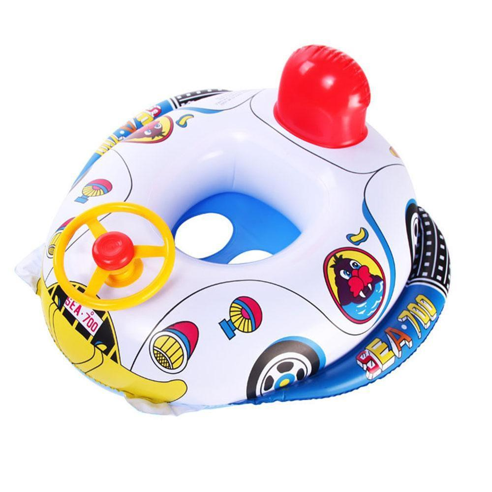 1pc Swimming Float Boat Children Swimming Ring Baby Summer Inflatable Pool Lap Swim Seat Float Boat With Horn ButtonToys Car
