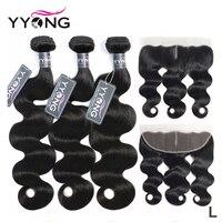 Yyong волосы 3 пучка бразильские объемные волны с фронтальной Remy человеческие волосы пучки с 13X4 уха до уха Кружева Фронтальная