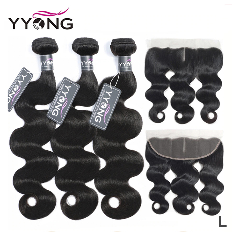 Yyong Hair 3 Bundles Brazilian Body Wave With Frontal Remy Human Hair Bundles With 13X4 Ear To Ear Lace Frontal