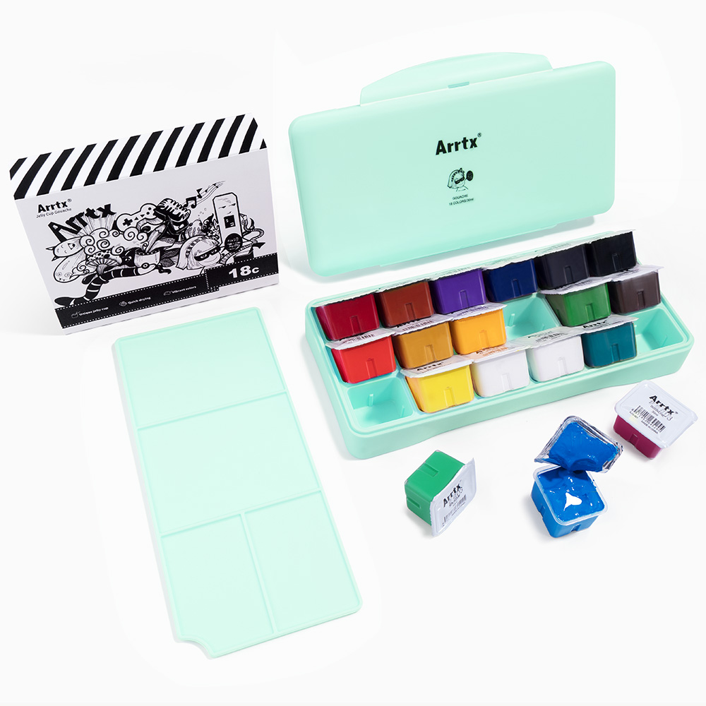 Arrtx Gouache-Paint-Set Palette Jelly Artists-Paint 18-Colors Hobbyist Portable-Box Cute