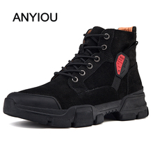ANYIOU 2019 New Men's Boots Martin Boots Leather High Shoes Men's Boots Ladies Boots Comfortable Warm Thermostat Fashion Boots