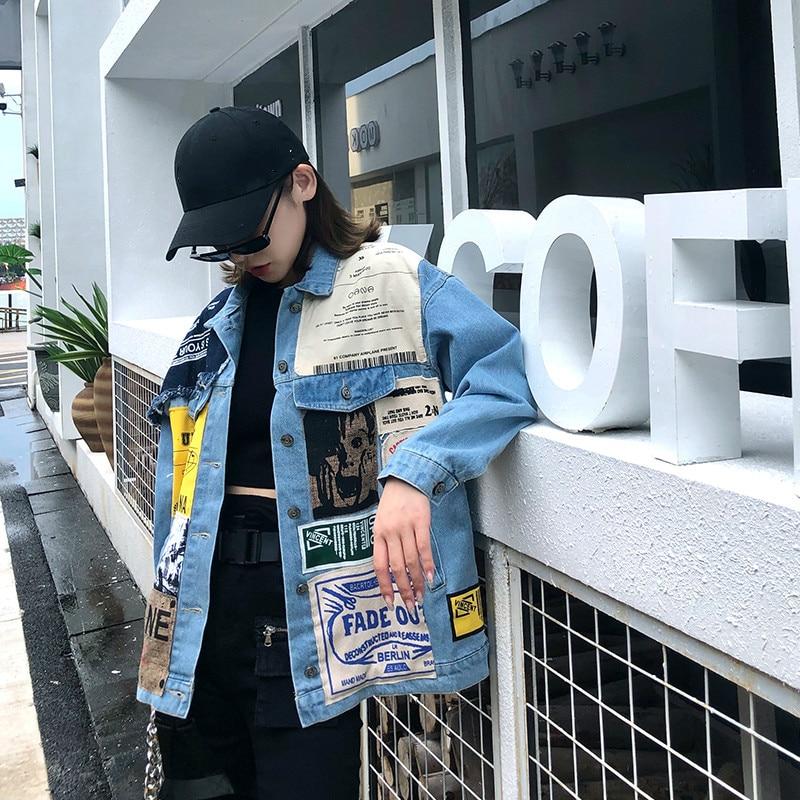 7Mang 2019 otoño mujer Streetwear parches Jeans chaquetas novedad carta impresión fiesta solapa suelta manga larga chaquetas de mezclilla 0903