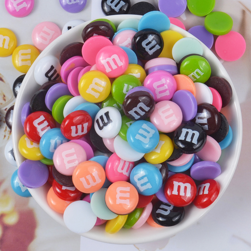 10pcs/bag Resin M Beans Glue For Slices Slime Supplies Super Light Clay Charms DIY Cream Phone Case Materials Crystal Mud Filler