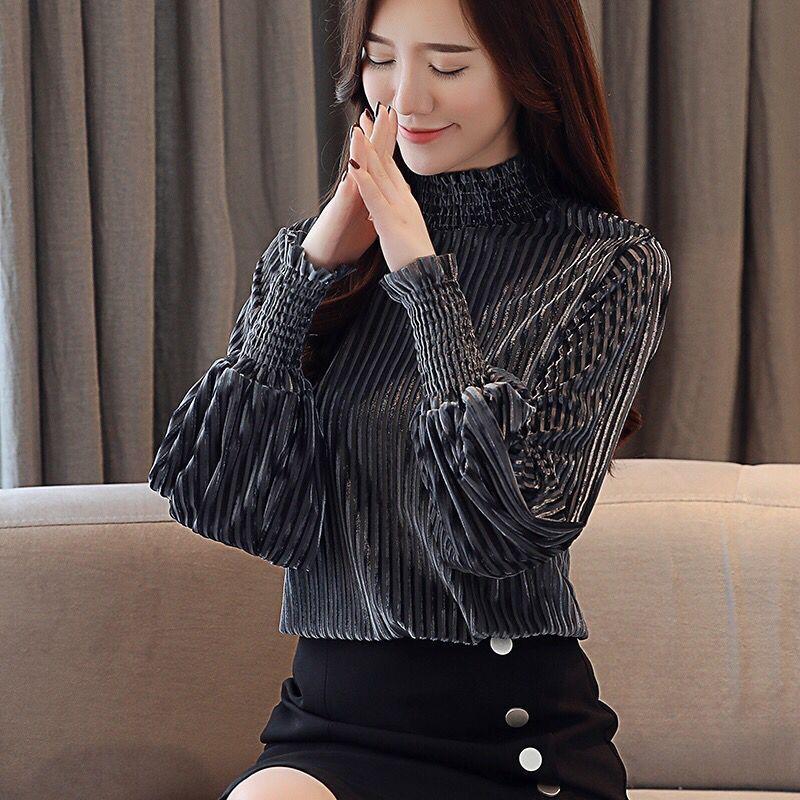 XITAO Irregular Pleated Black White Shirt Women Clothes 2019 Tide Print Button Blouse Top Summer Fashion New Match