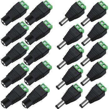Złącze DC Power wtyczka Jack Adapter 100 par 12V 5A męski + żeński 2 1X5 5MM złącze zasilania do taśmy Led kamera telewizji przemysłowej tanie i dobre opinie BLYN CN (pochodzenie) LED Strip Connector 24 v Rohs
