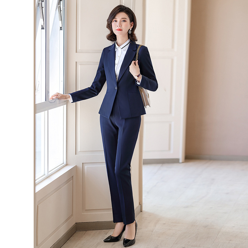 2020 New Women's Spring And Summer Professional Work Clothes Plus Size Women's Blazer S-4XL Slim Trousers Suit Two-piece