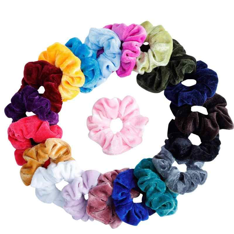 27 Color Soft Chiffon Velvet Satin Hair Scrunchie Floral Grip Loop Holder Stretchy Hair Band Leopard Women Hair Accessories