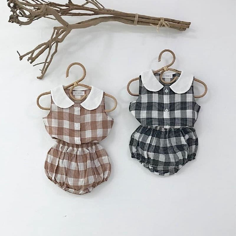 2020 New Girls Clothing Sets Baby Girls Sleeveless T Shirt Plaid Tops Tops + Shorts 2pcs Children Cotton Summer Clothes Suits