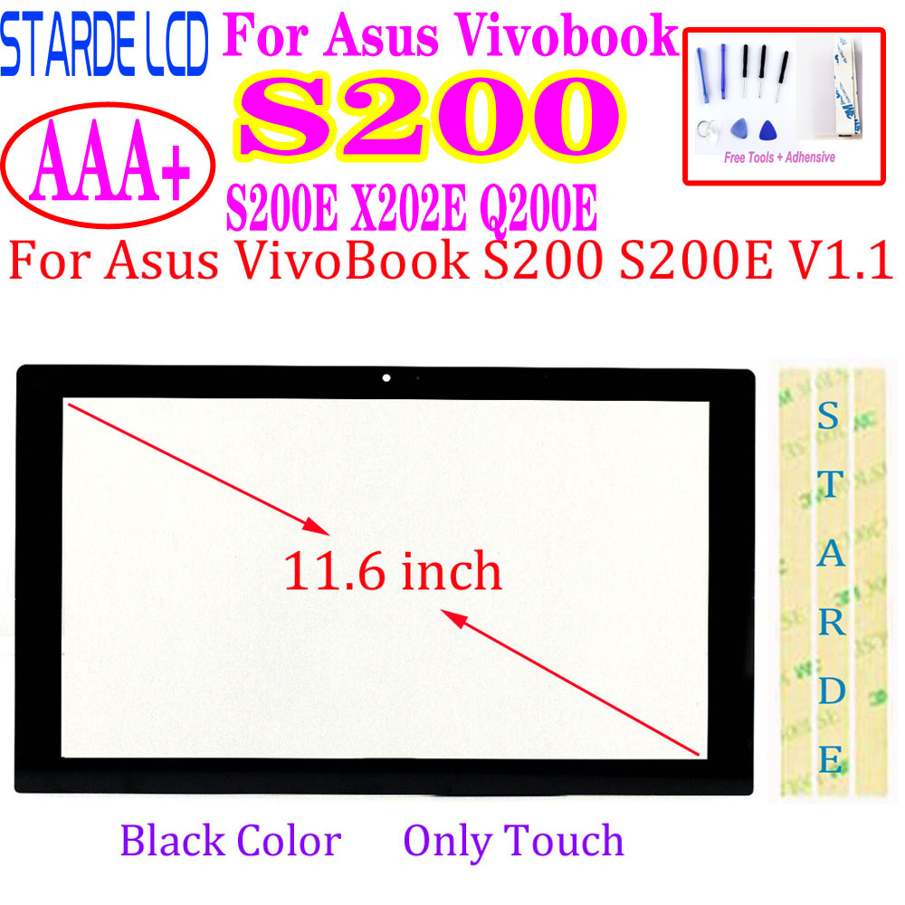 Touch For Asus VivoBook S200 S200E X202E Q200E Touch Screen Digitizer Glass Sensor Panel Replacement Black