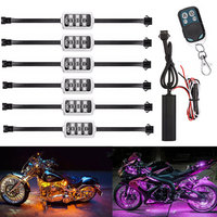 Motorcycle Car Atmosphere Light 6 RGB 36 LED Smart Brake Lights with Wireless Remote Control Moto Decorative Strip Lamp Kit New