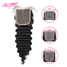 Lace Closure Berrys Fashion Transparent Loose Human-Hair-Extensions Epluncked Wave 4x4