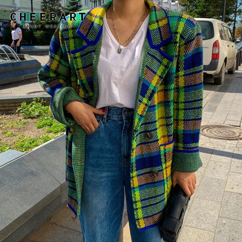 CHEERART Plaid Blazer Colorful Green Sweater Blazer And Jackets Korean Casual Blazer Women Fashion Ladies Coats Fall Clothes