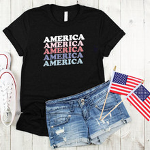 America Shirt 2020 Fashion Womens 7 월 4 일 Tshirt Aesthetic Print Womens 7 월 4 일 Tee USA Letter Tops Red Streetwear(China)