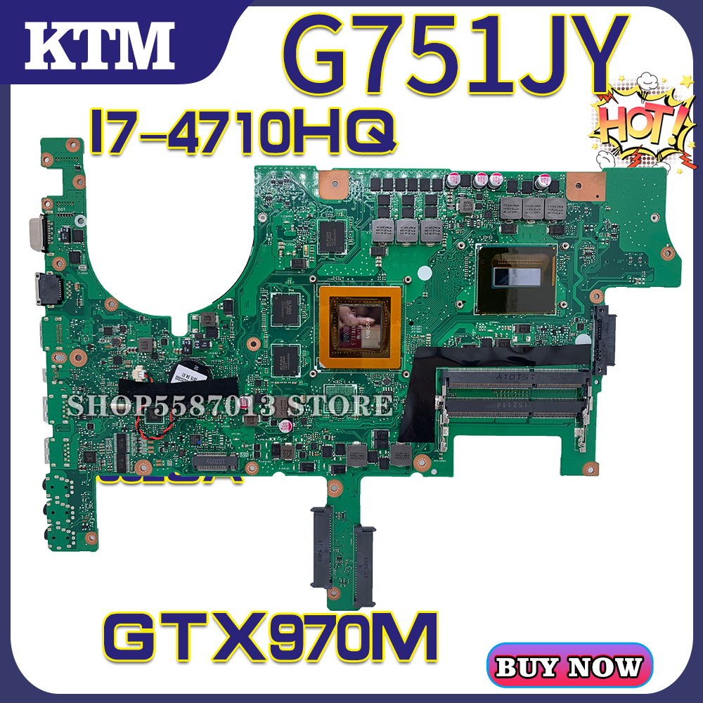 ROG G751J <font><b>G751JY</b></font> G751JT G751LJ G751 for ASUS laptop <font><b>motherboard</b></font> mainboard test OK I7-4710HQ cpu GTX970M/3GB image
