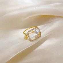 MENGJIQIAO coreano circón delicado cuadrado geométrico Joker anillos para las mujeres las niñas ajustable nudillo del dedo corazón anillos joyas regalos