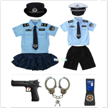 New Kids Child Cop Police Officer Uniform Halloween Police Costume Boys Girls Policeman Cosplay Police Suit With Handcuffs umorden police officer cops costume for adult women men teen girls policeman uniform halloween carnival mardi gras party dress