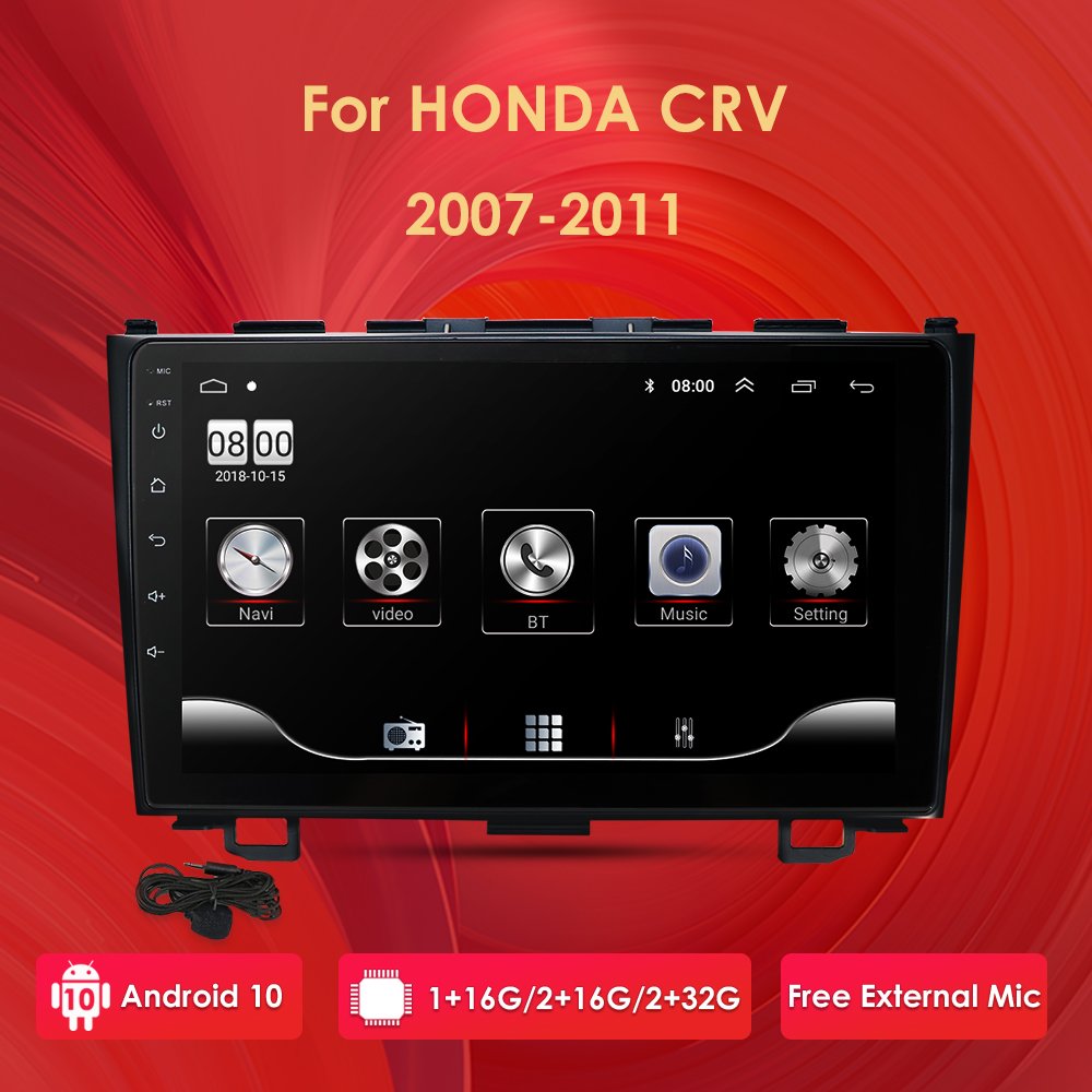 2din Android 10 9'' Car <font><b>Multimedia</b></font> Player for <font><b>Honda</b></font> <font><b>CRV</b></font> CR-V 3 2006 2007 2008 2009 2010 <font><b>2011</b></font> Stereo navi GPS 1024*600 with WIFI image