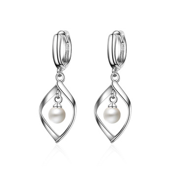 Bague Ringen Silver 925 Jewelry drop earring long sterling silver with round natural pearl  fine charm jewelry woman party gift 1