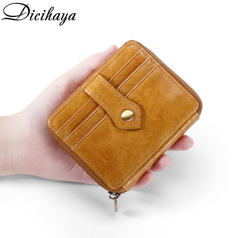 Dicihaya Credit ID Card Holder Slim Leather Wallet Business Purse Money Case For Men Women Coffee Brown Fashion Card Wallet