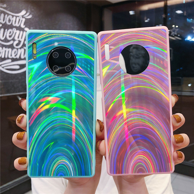 Funda De Lujo Huawei P30 Pro P40 P20 Lite Mate 20 30 Lite Mate 30 Pro, Funda Holográfica Con Prisma Láser Para Teléfono 3D Plain 3