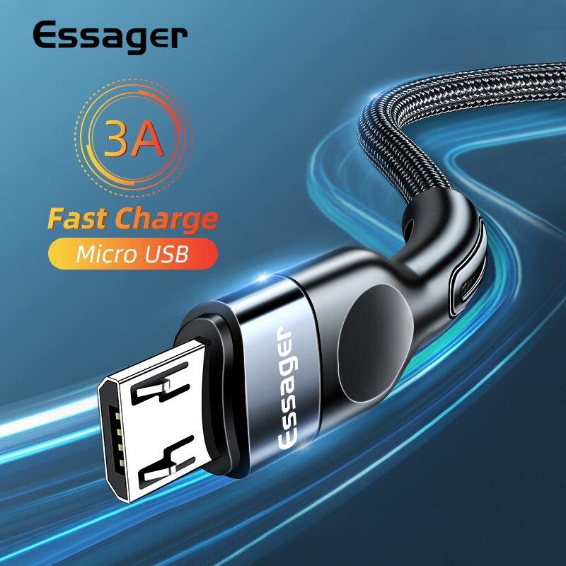 Essager Micro USB kabel 3A szybka ładowarka Microusb przewód do Samsung Xiaomi Redmi Android telefon komórkowy kabel danych 2M