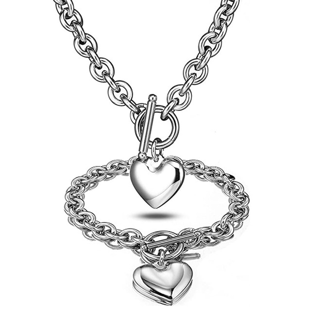 Love Heart Necklace and Bracelet Jewelry Sets for Women Gift Stainless Steel Engagement Wedding Party Chain Set Jewelry Fashion 5