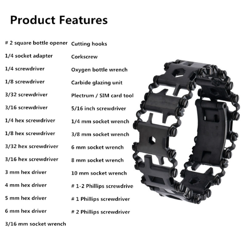 29 Tool Wearable Multi 3cm In Bracelet Outdoor Emergency Field Kit Survival Strap Bracelet Tread Multi 1 Screwdriver Function