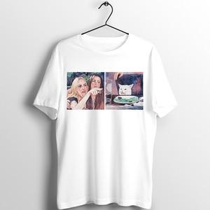 С черными краями унисекс футболка мем Женская орал на кошкой аниме Пикассо Абстрактная живопись печатных футболка