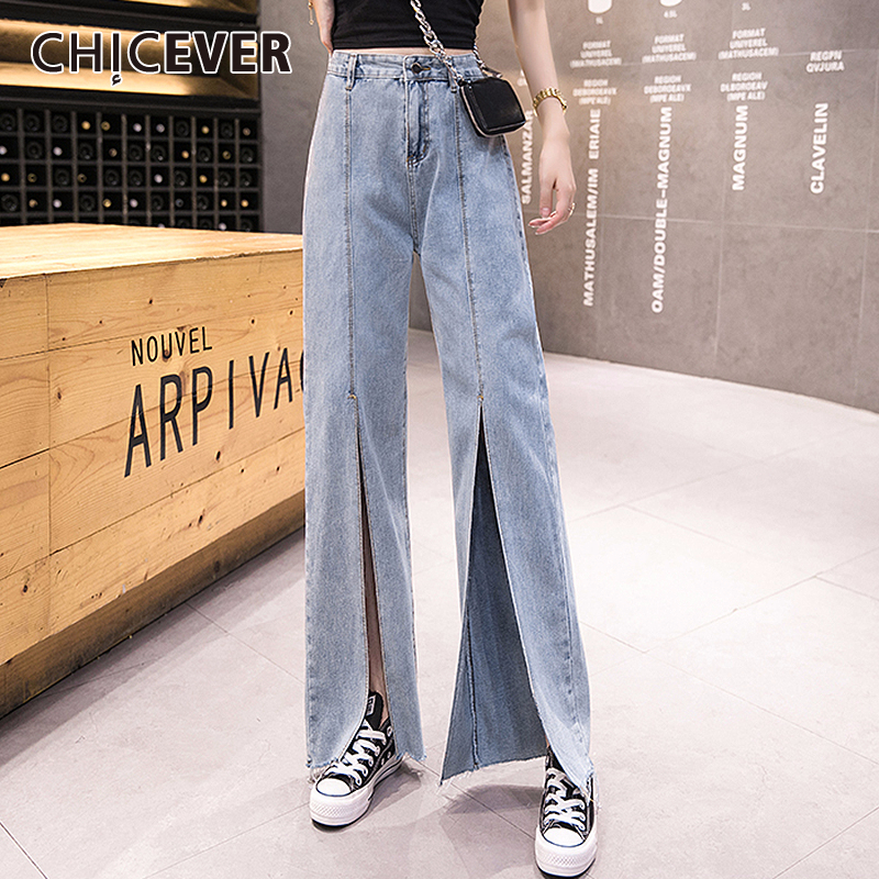 CHICEVER Denim Trouser For Women High Waist Split Wide Leg Jeans Female Large Size 2020 Spring Fashion Clothes